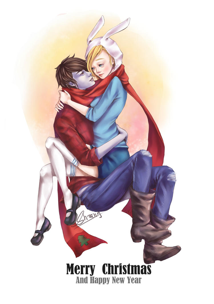 Merry Christmas - Marshall Lee and Fionna by ShiangEve