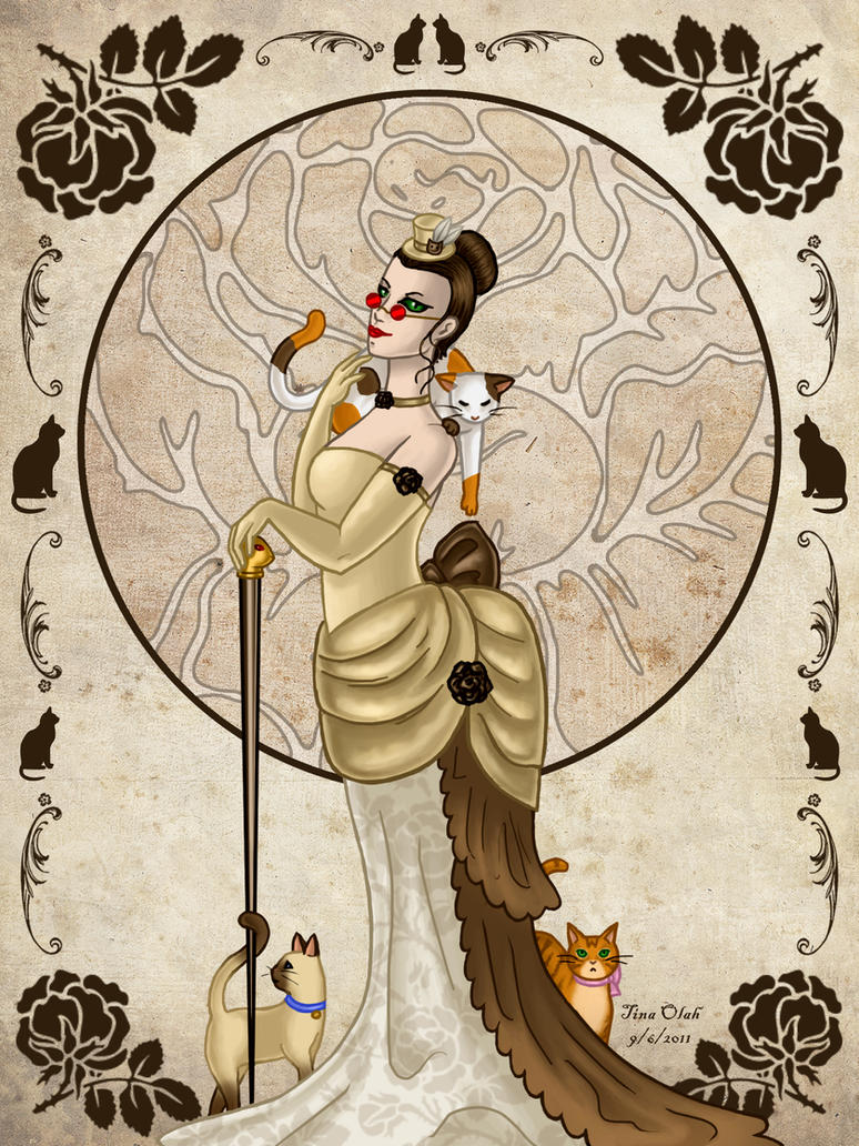 Victorian cat lady by kittensoft on deviantart for Crazy mural lady