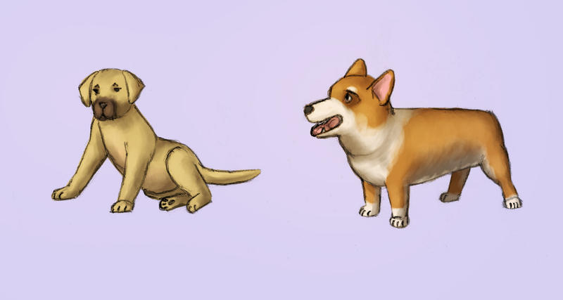 Doggie Sketches by Kittensoft