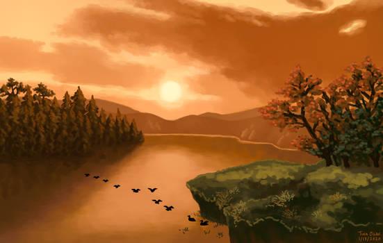 Sunset over Lake George - Master Study