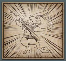 Wushu Rabbit Woodcut by SuperEdco