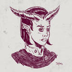 Tiefling portrait by SuperEdco