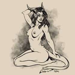 Kneeling Demoness by SuperEdco
