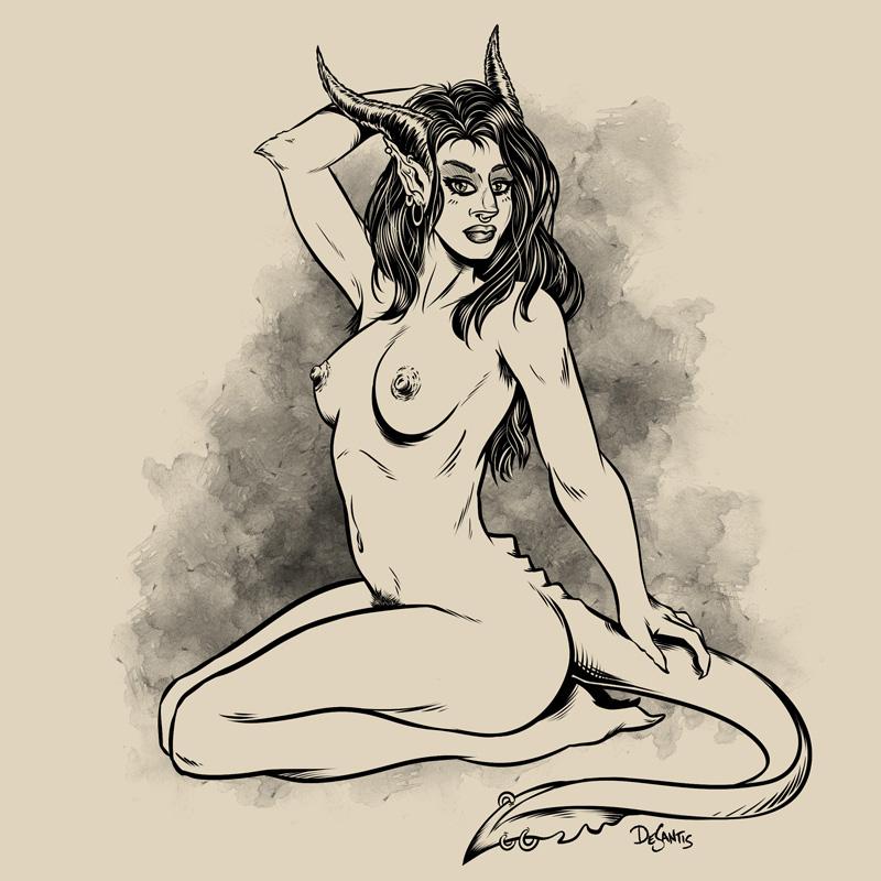 Kneeling Demoness by SuperEdco