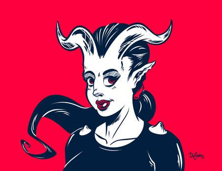 Demoness Over Red