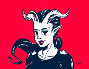 Demoness Over Red
