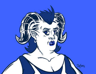 Demoness Over Blue