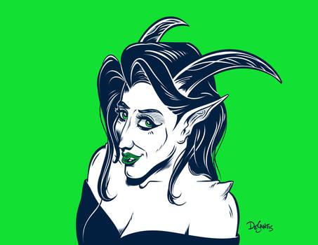 Demoness Over Green