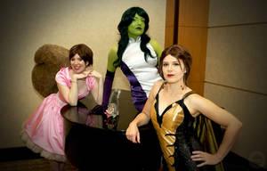 Fancy Squirrel Girl, She-Hulk, Wasp by galacticat