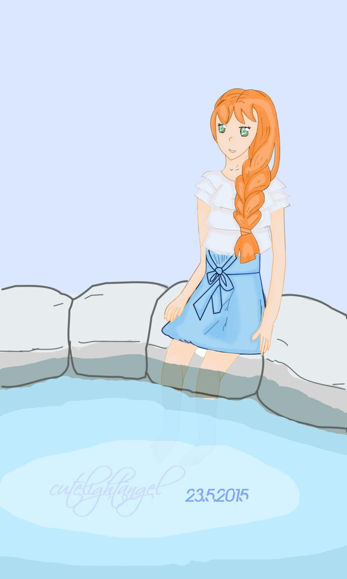 Girl relaxing at pool by cutelightangel