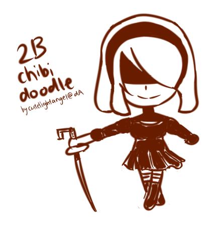 [Fanart] 2B Chibi Doodle by cutelightangel