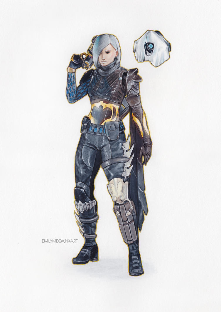 D1 Female Hunter and Ghost Ghost Drawing