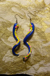 Neon Acid Octopus Earrings by TwodeeWeaver