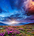 Majestic sunset in the mountains landscape.