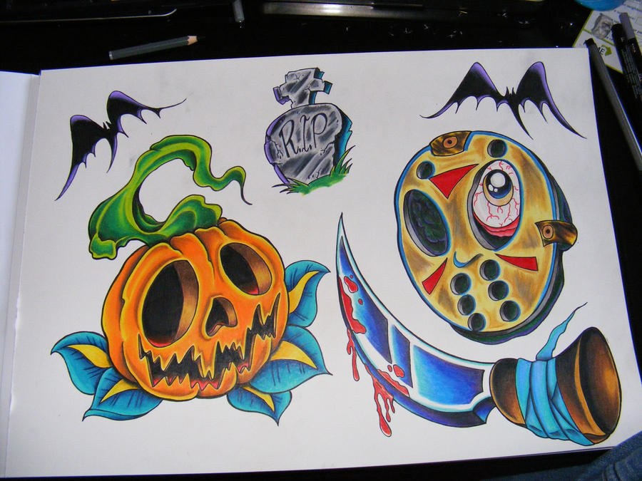 Halloween Horror Tattoo Flash by ~robspider on deviantART