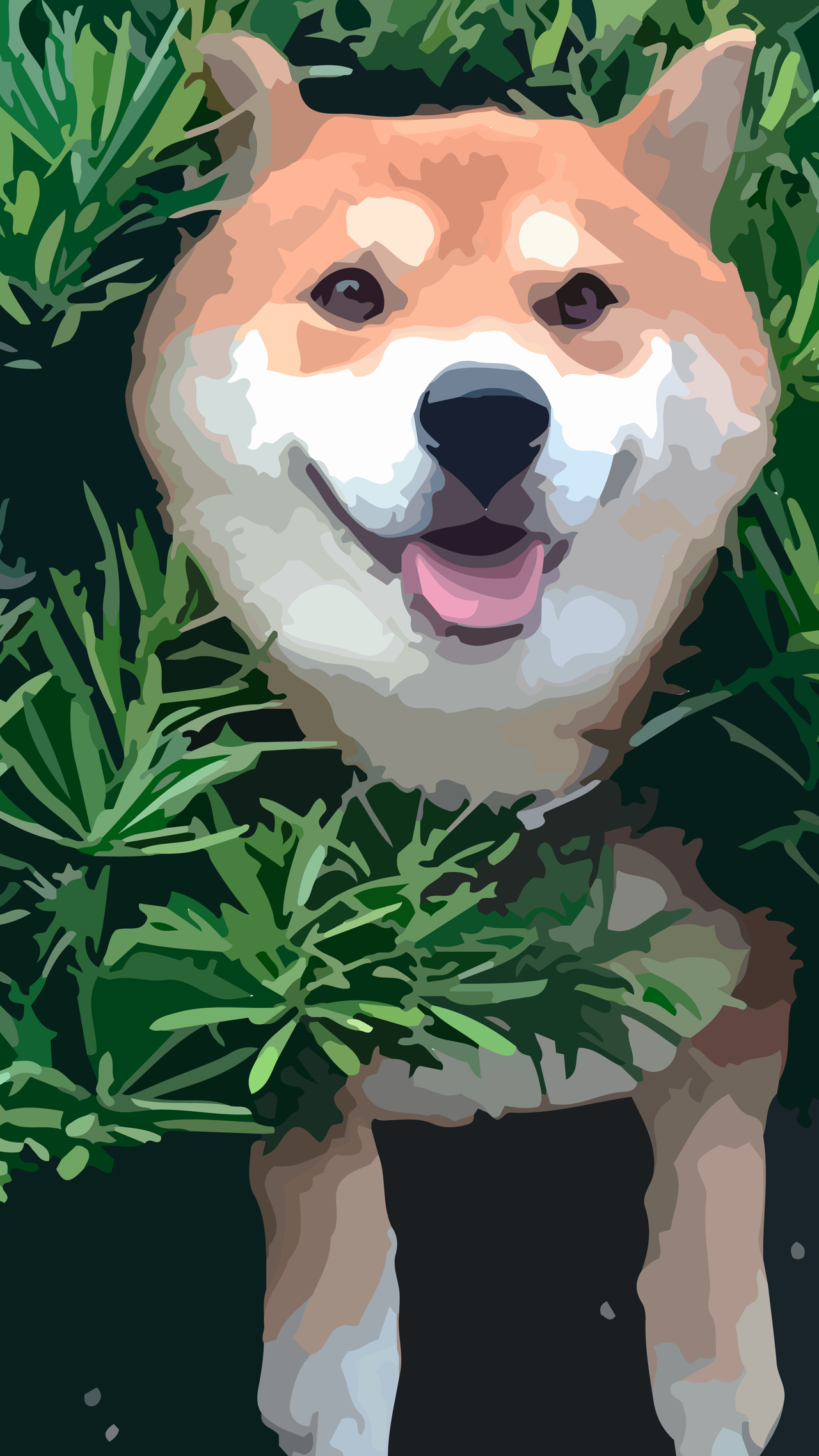 Shiba In Bush Simple Android Wallpaper By Zuggamasta