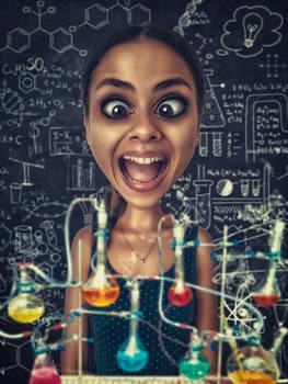 Crazy scientist (caricature)