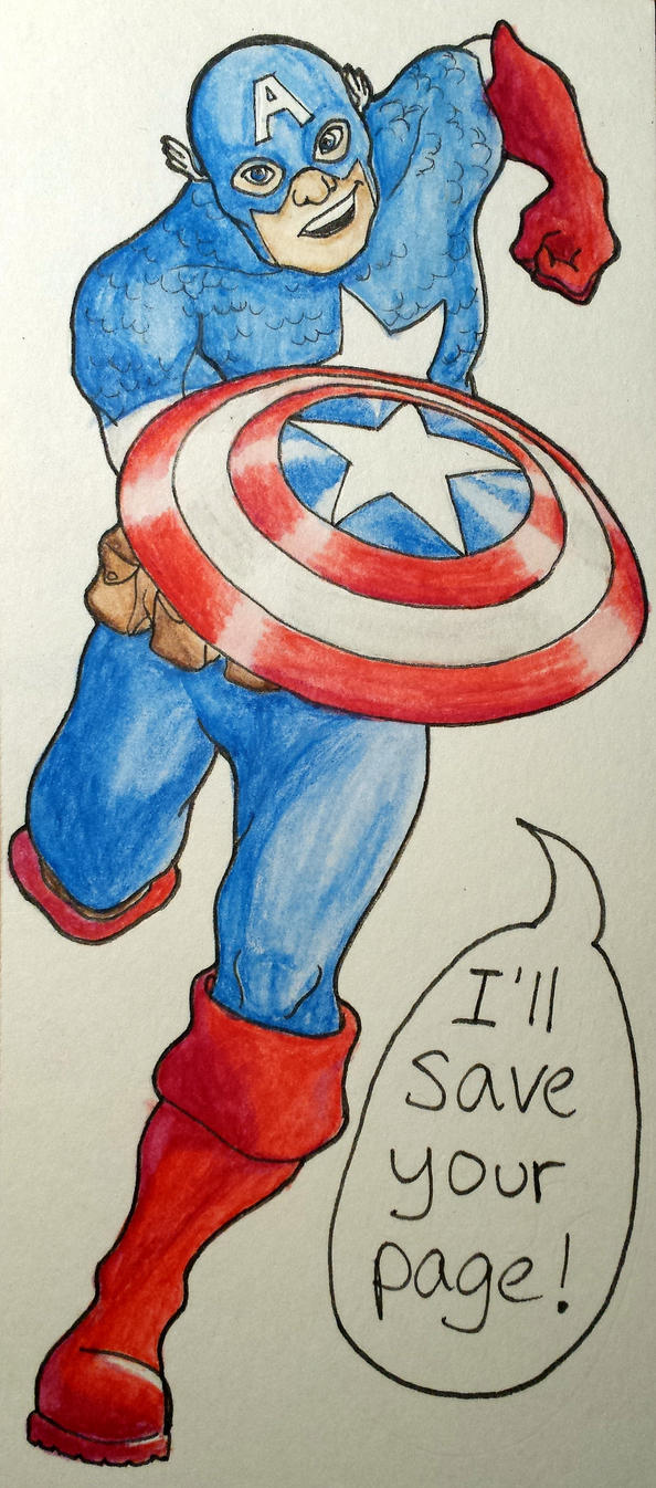 Captain America Bookmark by 24Autumnights