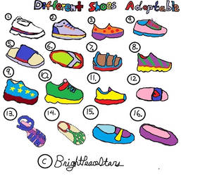 Differenet Shoes Colored Adoptable by BrightPeaceStars