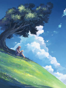 under a tree, upon a hill