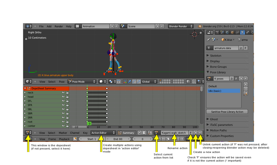 Multiple animations in the same file (Blender Tut) by eelstork on