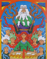 Aegir and his daughters by Thorskegga