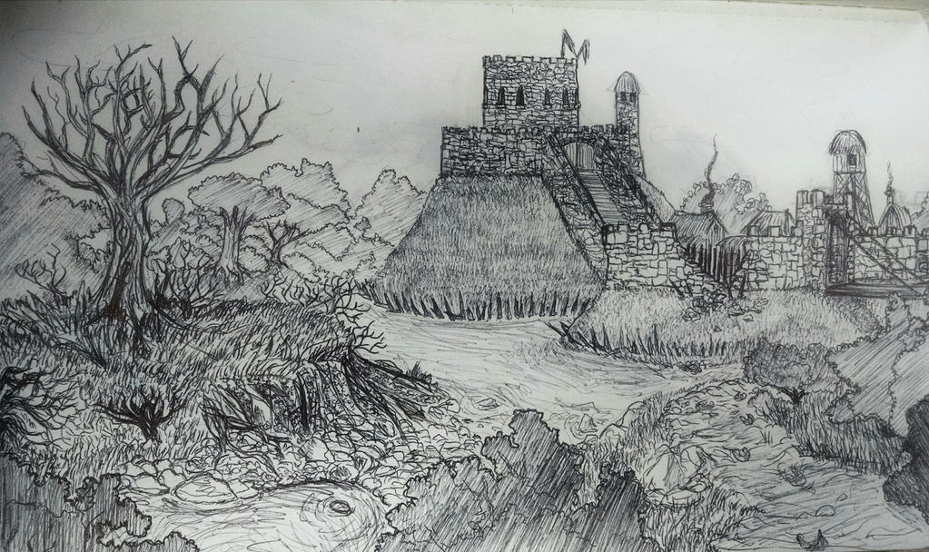 Stone motte and bailey castle in swamp by theridonculesknights