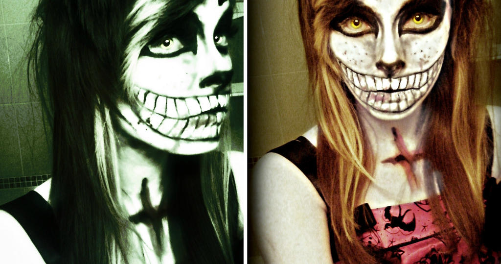CHESHIRE CAT Halloween makeup :3 by Xox-dreamer-xoX