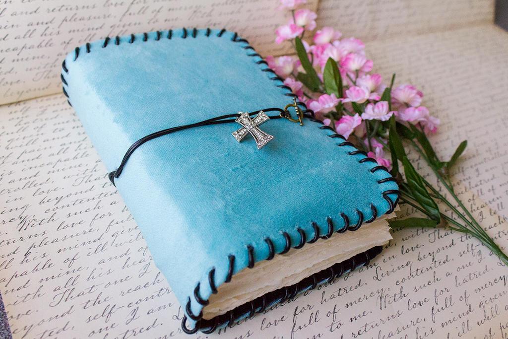 Aqua Suede Blank Book - Handmade by GoldCoinComics