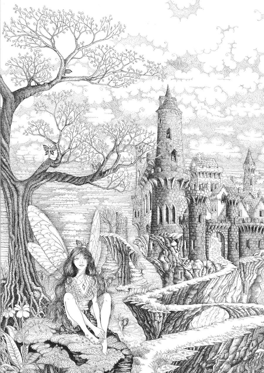 Line Art Drawing House : Fairy pathway by ellfi on deviantart