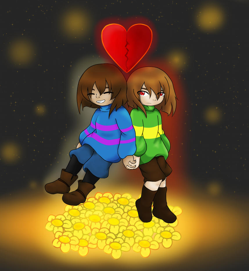 Frisk and Chara by Kaniai