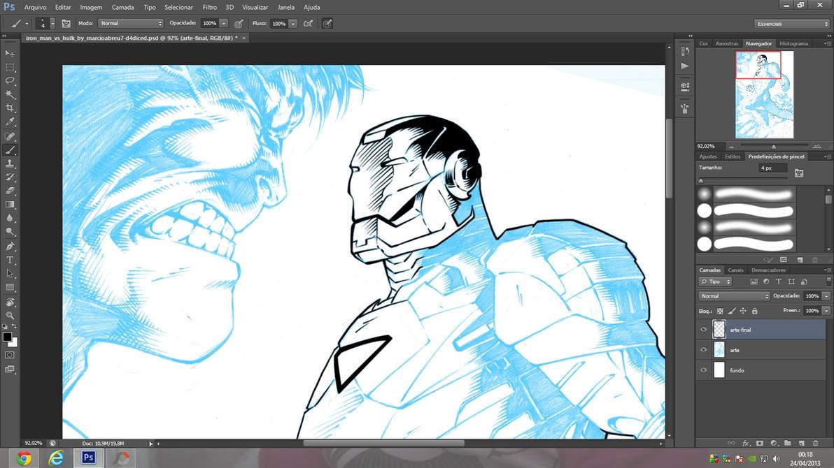 Iron Man Vs Hulk digital ink by macacaralho on DeviantArt
