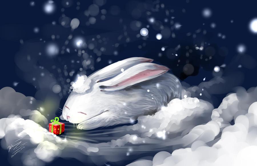 Christmas bunny by Cindiq