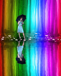 Girl with Umbrella in a Rainbow Forest