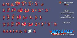 Megaman IFI Style FlameSword - SpriteSheet