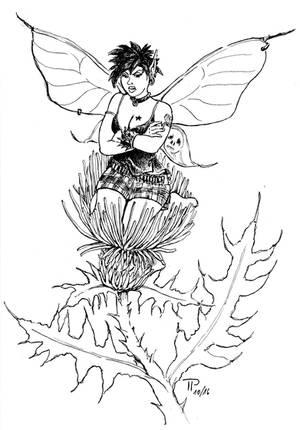 Inktober 16-03 Thistle-Fairy