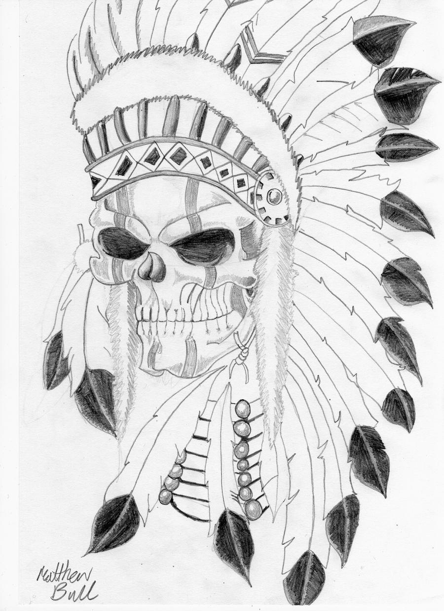 native indian skull tattoo by weemattyb designs interfaces tattoo