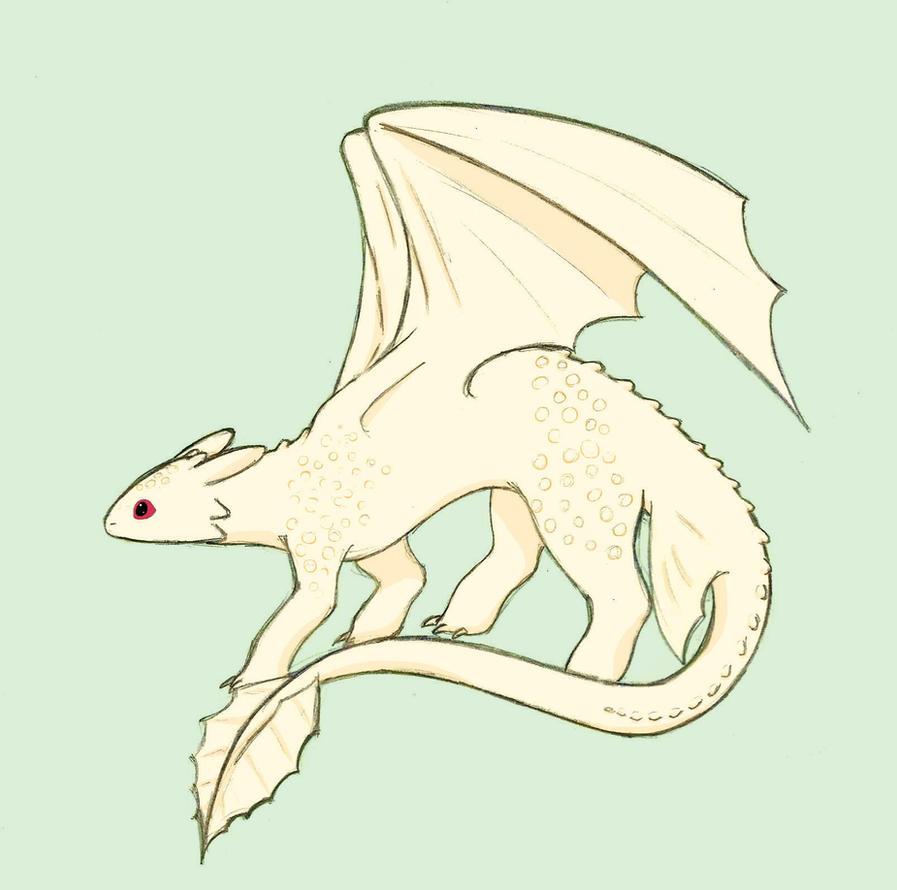 Albino Night Fury by kiwi-bat