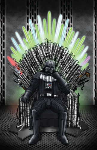 Darth vader on the throne of lightsabers by photon nmo on for Buy iron throne chair