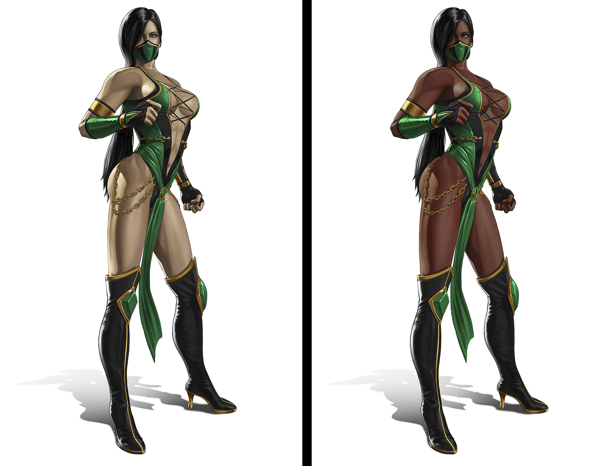 Character Design Mortal Kombat : Jade mk before after by chamkham on deviantart