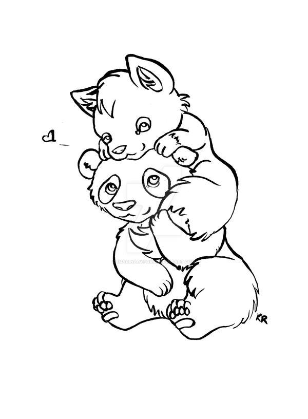 Panda + Fox Lineart by ImaginaryFox