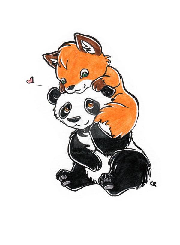 Panda + Fox by ImaginaryFox