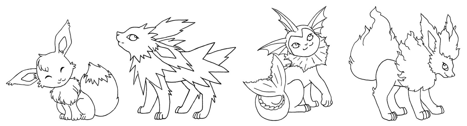 Pokemon eevee basic evols by imaginaryfox on deviantart for Pokemon eevee evolutions coloring pages