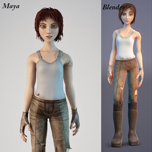 Realistic Character Modeling Blender : The difference between maya and blender by debithefox on