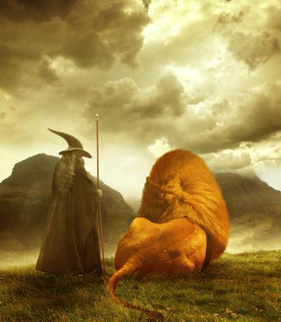Gandalf and Aslan - print by FuzzyBuzzy