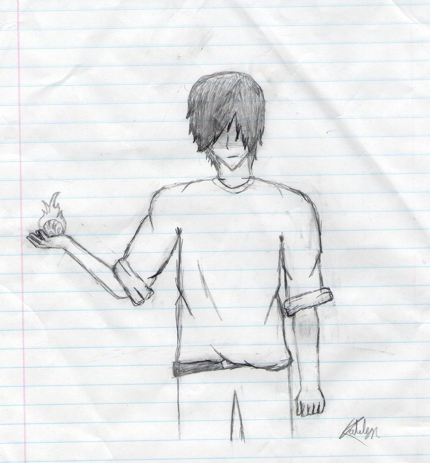 Guy Holding A Fireball By DaSheepsta