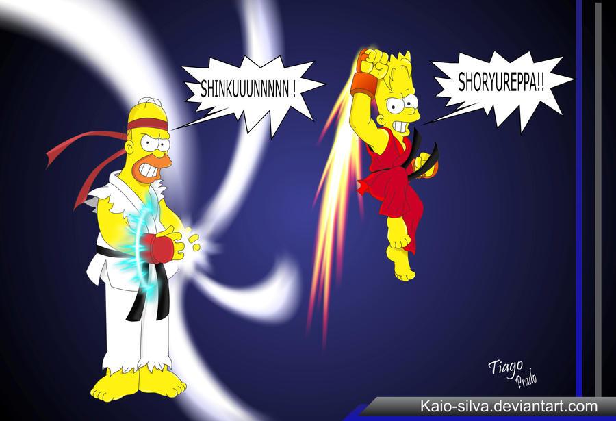 Bart Ken Vs Homer Ryu by Kaio-Silva