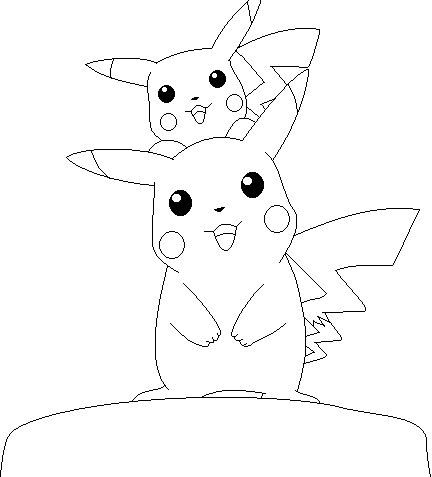 Pikachu Lineart colored by Thongchan on DeviantArt