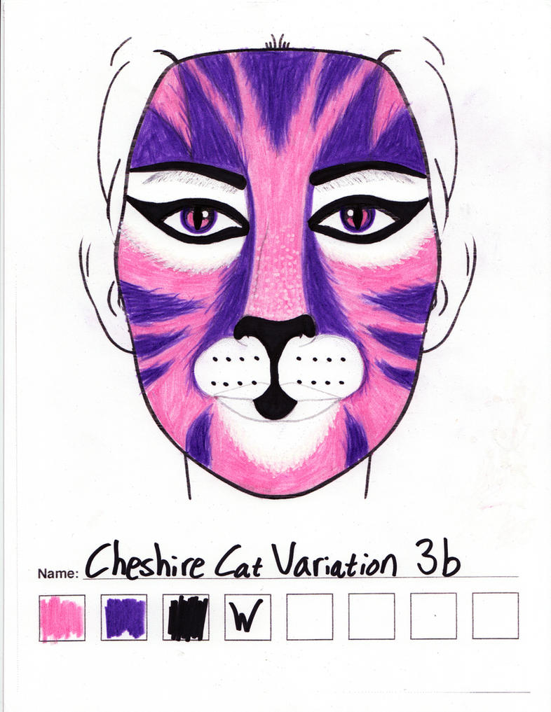 Cheshire Cat Variation 3b makeup sketch by toberkitty