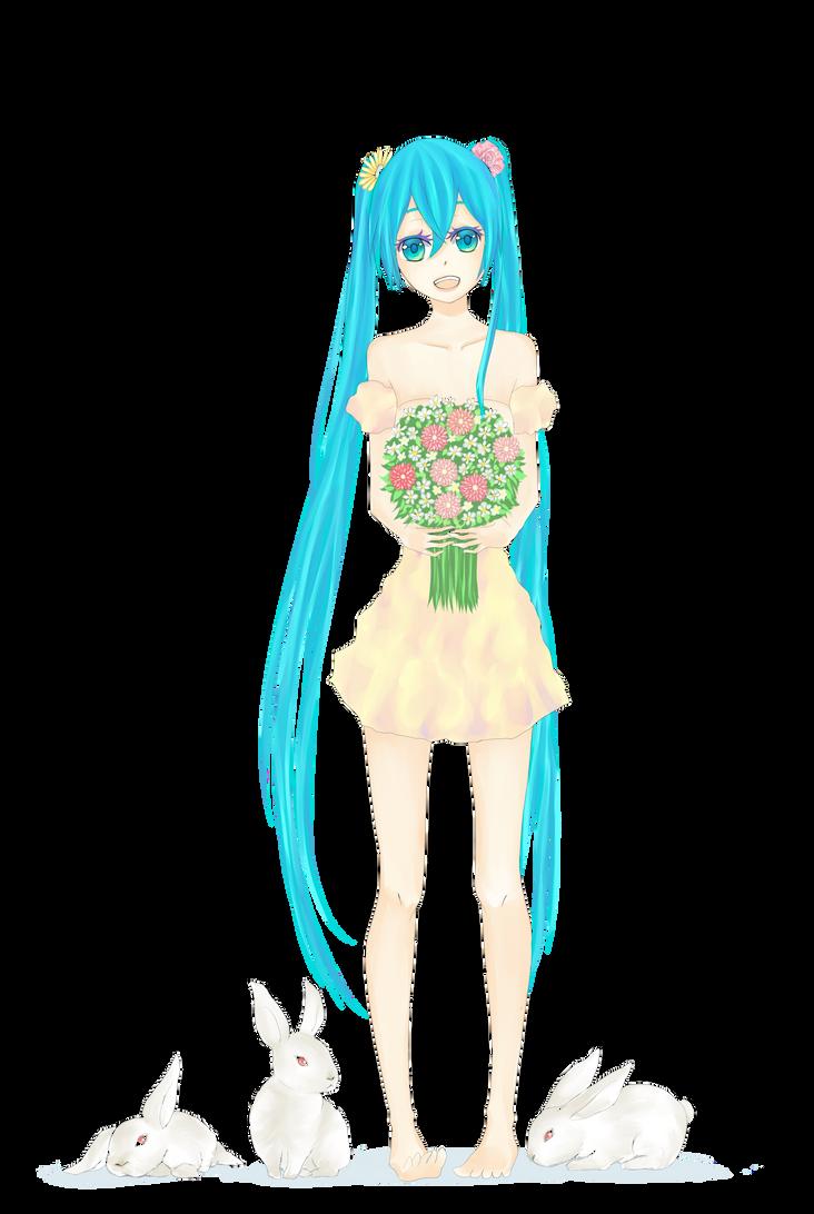 Miku Has Flowers by bunnychii